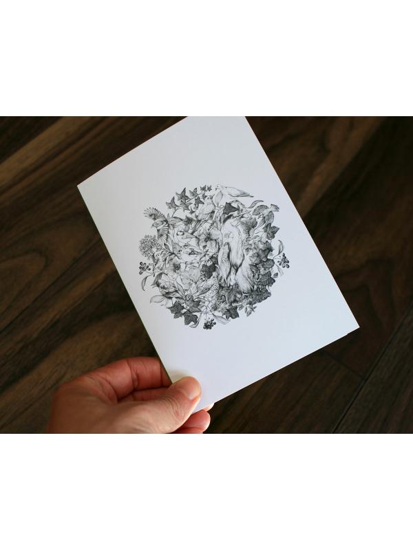 CARD – Wildlife illustration featuring various European birds