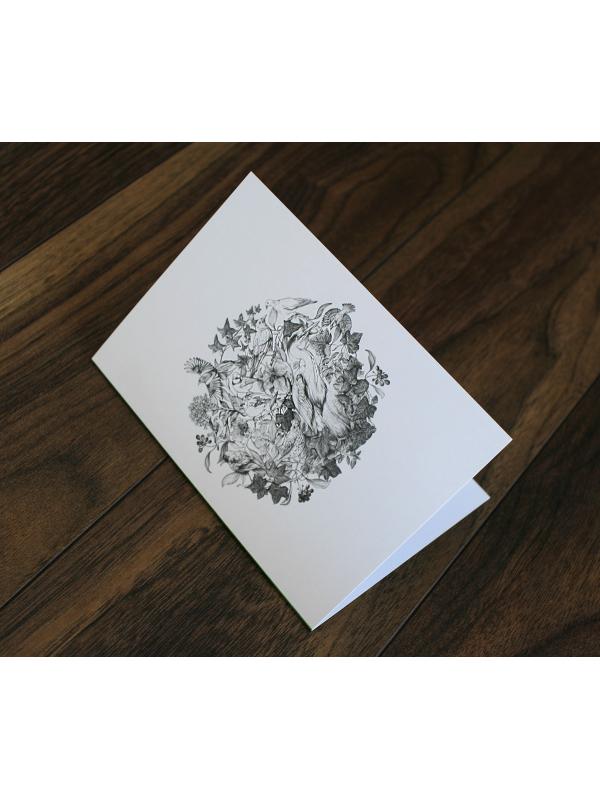 CARD – Wildlife illustration featuring various European birds – by Aga Grandowic