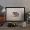 Little grebe duck – original artwork by Aga Grandowicz.