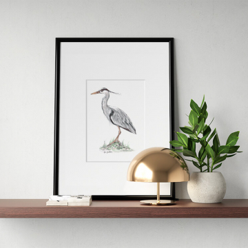 Great blue heron #1 – original artwork by Aga Grandowicz.