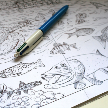 Drawings for a heritage-related colouring book