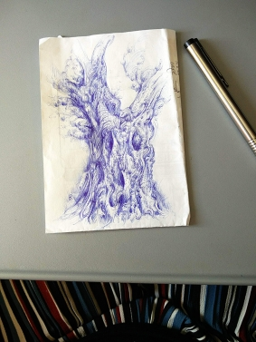 Drawing of an olive tree by Aga Grandowicz, photo 2