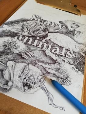 Scary animals – pen drawing by Aga Grandowicz