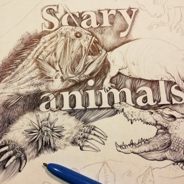 Scary animals – pen drawing by Aga Grandowicz